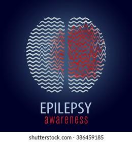 Human brain with epilepsy activity, epilepsy awareness, vector illustration