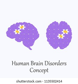 Human Brain Filled with Puzzle Pattern Few of Whitch Unfit to the Whole. Conceptual Image of Human Brain Disorders in its Initial Stage. Vector EPS 10
