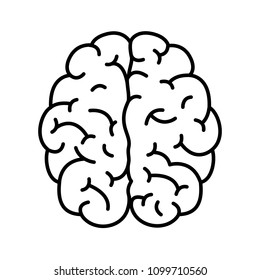 Human brain flat linear vector icon black on white background