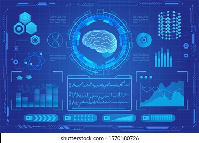 Human brain futuristic medical hologram vector illustration. Brain model screening virtial reality interface. Diagrams, pie chart infographics. vr and ar medicine and healthcare icons