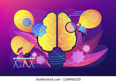Human brain with gears thinking and users. Creating ideas and thoughts, brainstorming, creativity and business ideas, thinking concept, violet palette. Vector illustration on ultraviolet background.