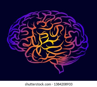 The human brain. Graphic, multi-colored silhouette of the brain side view on a dark purple background.