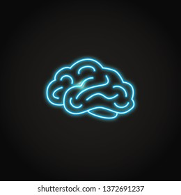 Human brain icon in neon line style