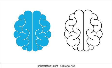 Human brain icon with neural bonds, Mind education symbol - vector