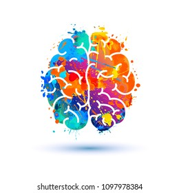 Human brain icon of watercolor splash paint