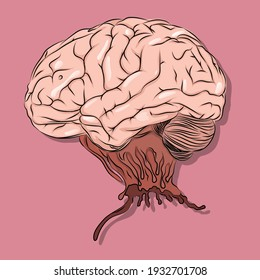Human brain illustration which is like it's torn up from the body.
