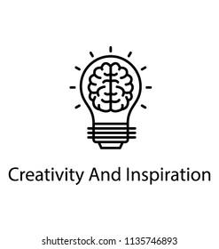 Human brain inside sparkling light bulb, creative idea icon