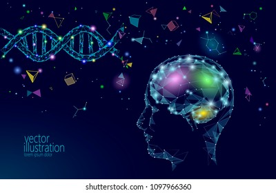 Human brain IQ smart business concept. E-learning nootropic drug supplement DNA medicine neuroscience braingpower. Brainstorm creative idea project work low poly polygonal vector illustration