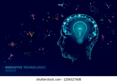 Human brain IQ smart business concept. E-learning nootropic drug supplement braingpower. Brainstorm creative idea project work low poly polygonal vector illustration
