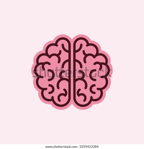 Human Brain Isolated on Light Pink Background. Flat Design Style. Mind Logo. Human Organ Icon