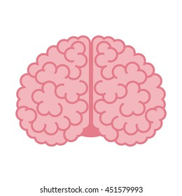 Human brain isolated on white background. Flat design. Vector illustration. EPS 8, no transparency