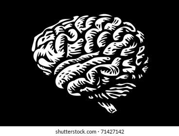 human brain isolated silhouette illustration