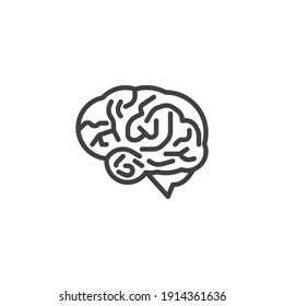 Human brain line icon. linear style sign for mobile concept and web design. Brain organ outline vector icon. Mind intelligence symbol, logo illustration. Vector graphics