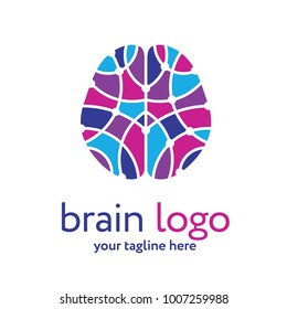 Human brain logo template. Brain research concept. Place your text