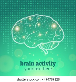Human Brain Logo,Neurology Anatomical Conception,Vector Illustration.Medical Logo Brain Activity and Cerebellum on green dotted background and synapse lights.Cerebral Anatomical Neurology Vector Logo