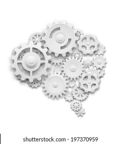 Human brain made of gears. Isolated on white. EOS10 vector.