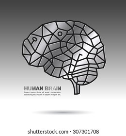 Human brain mosaic silver texture on grey gradient background
