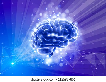 Human brain on a blue technological background surrounded by information fields, neural networks, Internet webs - the concept of modern technology, biotechnology, artificial intelligence. Vector draw