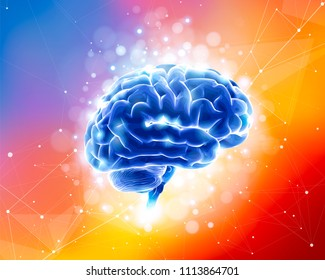 Human Brain on a color technological background surrounded by information fields, neural networks, Internet webs - the concept of modern technology, biotechnology, artificial intelligence, creativity