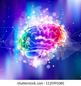 Human brain on a color technological background surrounded by information fields, neural networks, Internet webs - the concept of modern technology, biotechnology, artificial intelligence. Vector draw