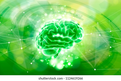 Human brain on a green technological background surrounded by information fields, neural networks, Internet webs - the concept of modern technology, biotechnology, artificial intelligence. Vector draw