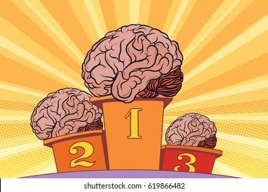 The human brain on sports podium. Pop art retro vector illustration. Competition intelligence