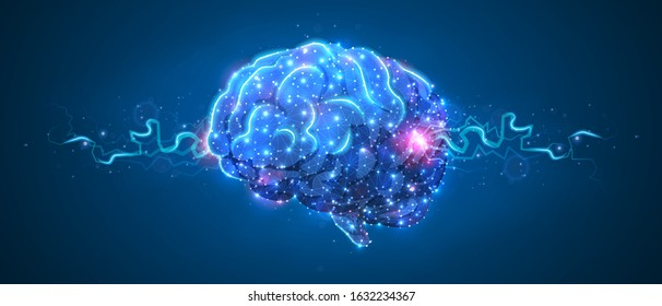 Human Brain. Organ anatomy, neurology, healthy body concept. Polygonal image on blue neon background. Low poly, wireframe digital 3d vector illustration. Abstract art