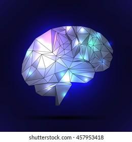 human brain with a polygon