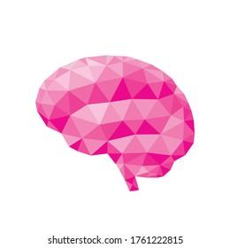 Human brain - polygonal graphic design vector illustration. Creative idea inspiration. Intuition intellect concept art. Mind sign. Innovation creativity brainstorm. IQ smart logic think. Pink color.