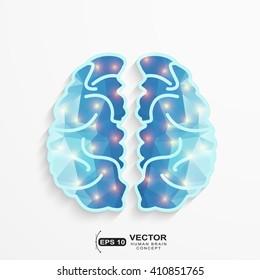 Human Brain polygonal shape with lights spot activity