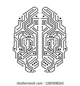 A human brain presented as a microcircuit, black and white