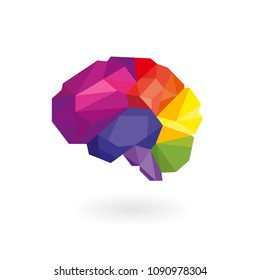 Human brain in rainbow color (which include of 6 parts based on anatomical) isolated on white background. Low poly style vector for concept of creative, smart and strategy.