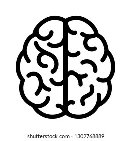 Human brain simple linear icon illustration isolated on white background