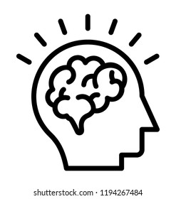 Human brain with sparkling symbol is icon for creative mind