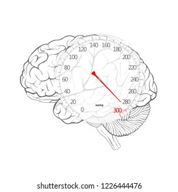 Human brain and sphygmomanometer. The concept of arterial hypertension, headache, tension, stress. Red arrow of blood pressure dial on the brain, vector image.