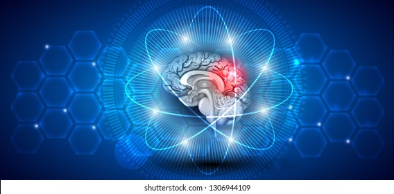 Human brain treatment concept. Abstract blue scientific background with transparent cells