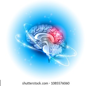Human brain treatment concept on a beautiful light blue radial background