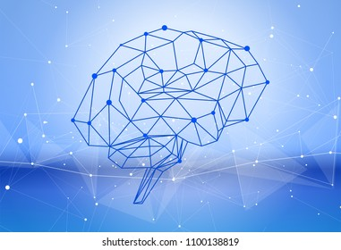 human brain of triangles, lines & dots located on a blue green technological background - conceptual illustration symbolizing artificial intelligence & modern biotechnology & HUD interface