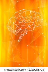 human brain of triangles, lines & dots located on a yellow technological background - conceptual illustration symbolizing artificial intelligence & modern biotechnology & HUD interface