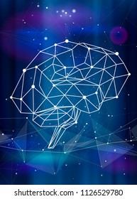 human brain & triangles, lines, dots located on a color technological background - conceptual illustration symbolizing artificial intelligence & modern biotechnology & HUD interface