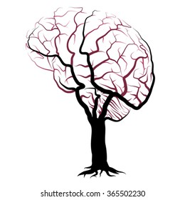 Human brain vein network shaped tree vector illustration