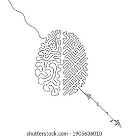 Human brain vs artificial intelligence continuous line drawing concept, Ai and organic brain hemispheres wired together, single line neurointerface icon, humanity and machines interconnection