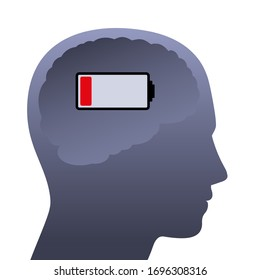 Human brain with weak battery. Empty head with low power, symbolic for stress, depression, burnout, frustration, tiredness, negative mental mood or lack of concentration.