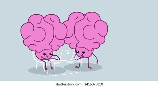 human brains couple sitting at workplace using laptop brainstorming successfull teamwork concept pink cartoon characters kawaii style horizontal