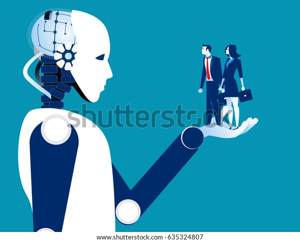 Human business in robotic hand. Concept robot and automation vector illustration.