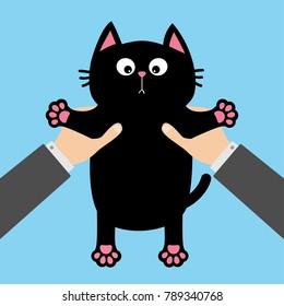 Human businessman hand holding black cat. Adoption helping hands concept. Flat design. Blue background. Vector