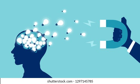 Human capital flight brain drain concept. Vector of a human head filled up with bright light bulbs ideas being attracted with magnet by corporate business