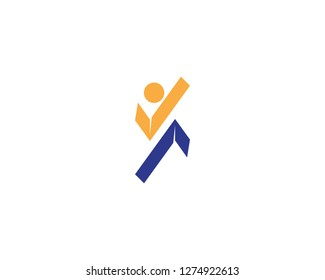 Human caracter logo design template
