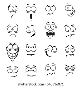 Human cartoon emoticon faces with expressions. Vector cute eyes elements smiling, happy, upset, surprised, skeptical, sad, angry, mad, stupid, crying, shocked, comic, silly, scared, classy, optimistic