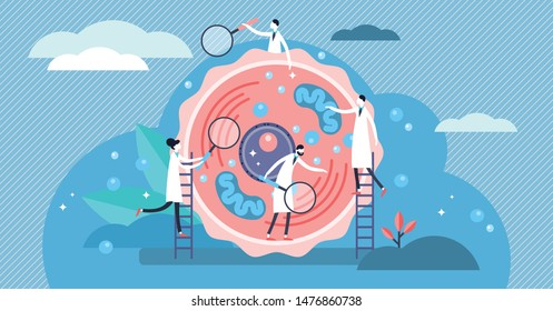 Human cell vector illustration. Flat tiny stylized microbiology persons concept. Scientists examine and research life blocks structure. Laboratory for basic structural, functional and biological unit.